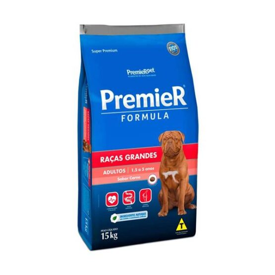 Ração Premier para Cães Adultos de Raças Grandes Sabor Carne 15kg