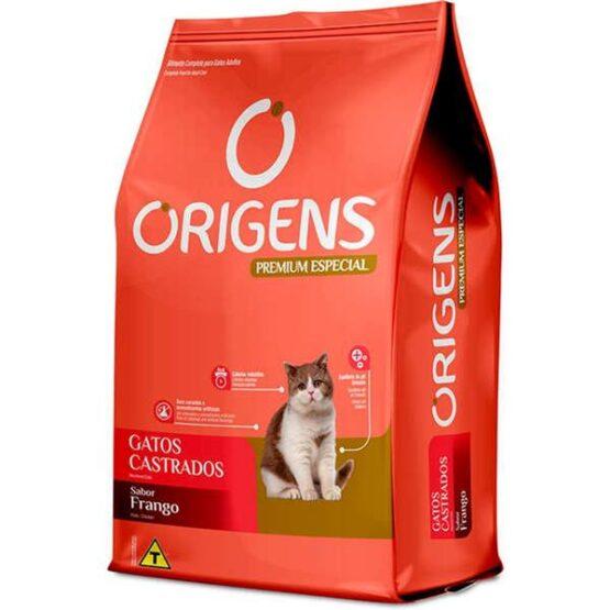 Ração Origens para Gatos Castrados sabor Frango 10,1Kg