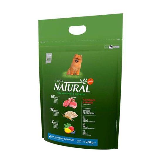Ração Guabi Natural para Cães Adultos de Raças Pequenas sabor Cordeiro & Aveia 1Kg