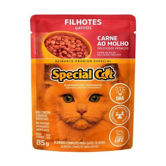 Ração Úmida Special Cat Sachê para Gatos Filhotes Sabor Carne 85g