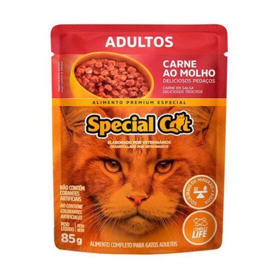 Ração Úmida Special Cat Sachê para Gatos Adultos Sabor Carne 85g