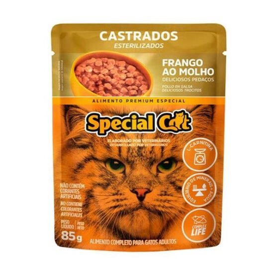 Ração Úmida Special Cat Sachê para Gatos Castrados Sabor Frango 85g