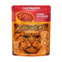 Ração Úmida Special Cat Sachê para Gatos Castrados Sabor Carne 85g-256152805
