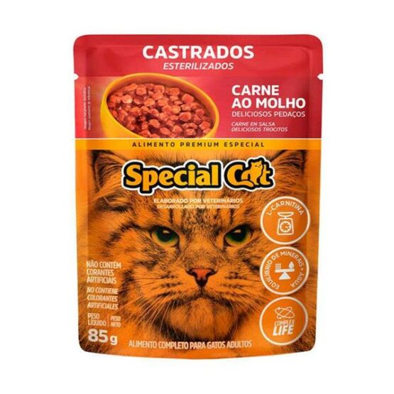 Ração Úmida Special Cat Sachê para Gatos Castrados Sabor Carne 85g