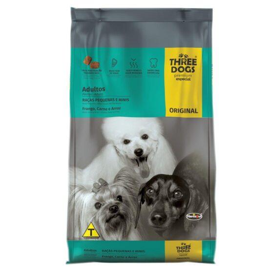 Ração Three Dogs Original para Cães Adultos de Raças Pequenas – 1kg