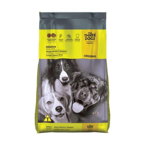 Ração Three Dogs para Cães Adultos de Raças Médias e Grandes Sabor Frango, Carne e Arroz – 15kg